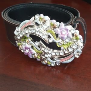 Accessories - Brown belt with floral jewel buckle size 3